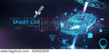 Futuristic Electric Smart Car In Polygonal Style With Hud Interface And Icons. Hologram Smart Auto I
