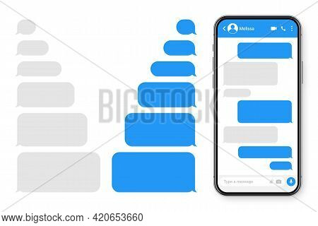 Realistic Smartphone With Messaging App. Blank Sms Text Frame. Messenger Chat Screen With Blue Messa