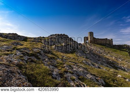 The Enisala Fortress Is A Medieval Fortress Sitting High On A Hillin Tulcea County, Dobrodja, Romani