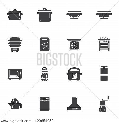 Kitchen Appliances Vector Icons Set, Modern Solid Symbol Collection, Filled Style Pictogram Pack. Si