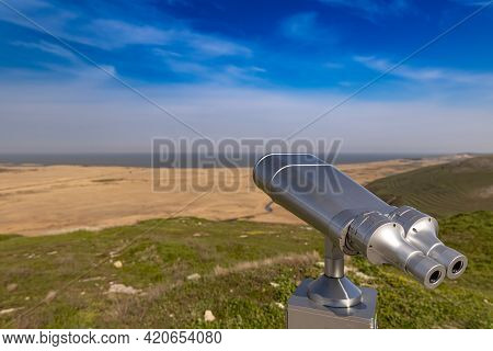 Touristic Telescope For Panorama Observation, Travel Nature Concept