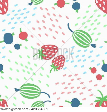 Seamless Pattern Of Berries On A White Background. Strawberry, Gooseberry, Currant In A Simple Summe