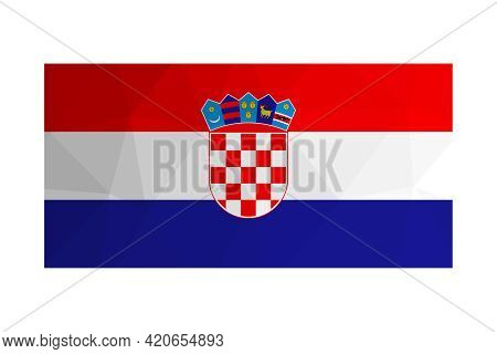 Vector Isolated Illustration. National Croatian Flag With Tricolour (red,white, Blue) And Coat Of Ar
