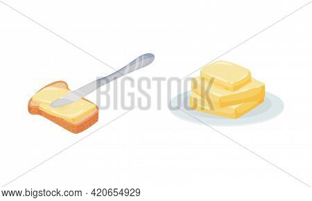 Butter As Dairy Product Rested On Plate And Spread On Bread Vector Set