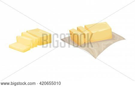Butter As Dairy Product Sliced And Unwrapped Vector Set