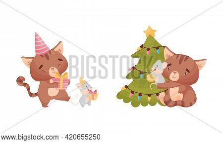 Cute Friendly Cat And Mouse Decorating Fir Tree And Carrying Gift Box Vector Set