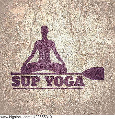 Paddle Board Yoga Meditation. Healthy Lifestyle Concept