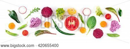 Fresh Vegetable Panorama With A Variety Of Healthy Vegan Salad Ingredients, Top Shot On A White Back