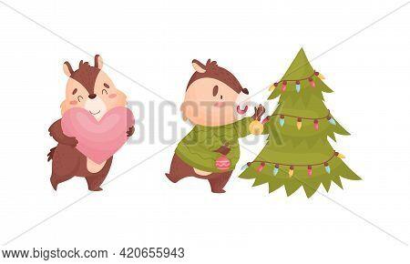 Cartoon Chipmunk Holding Heart And Decorating Fir Tree Vector Set