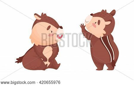 Cartoon Chipmunk With Striped Back Sitting And Standing Vector Set