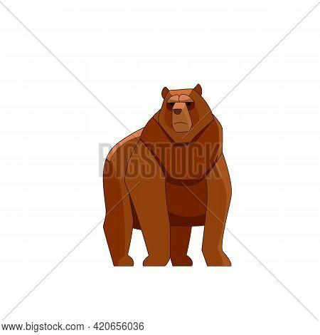 A Brown Bear Looking, Running, Walking Straight. Cartoon Character Of Big Mammal Animal. Wild Forest