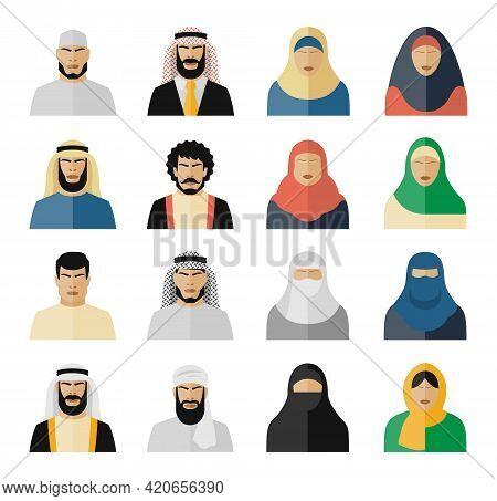 Arab People Icons. Muslim People, Arabian People, Islam People Woman And Man. Vector Illustration Se