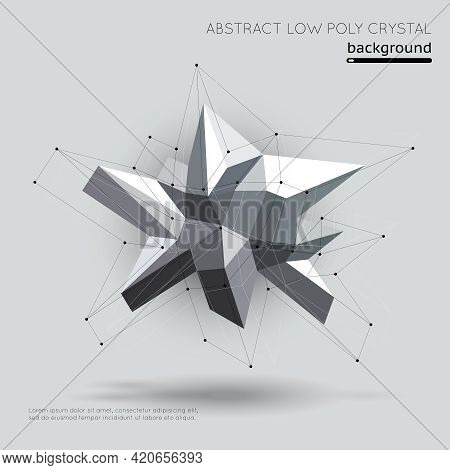 Abstract Low Poly Crystal With Connection Structure On White Background. Crystal Geometric, Structur
