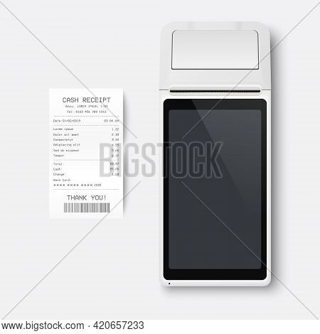 Vector Realistic White 3d Payment Machine. Pos Terminal, Paper Receipt Closeup Isolated On White Bac