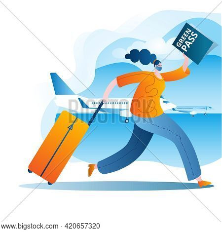 A Masked Passenger With A Suitcase And A Vaccination Passport Runs To The Plane. Vector Illustration