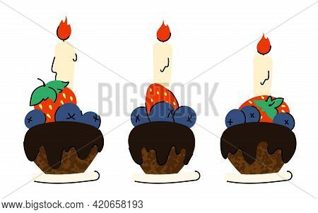 Cupcakes With Frosting And Holiday Candles For A Birthday Or Holiday. Isolated Objects On A White Ba