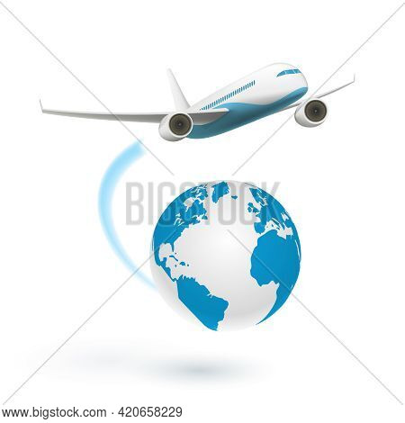 Airplane Flying Around The Globe Isolated On White Background. Vector Illustration