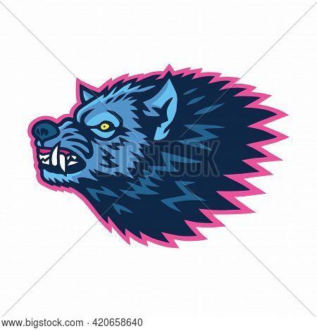 Mad Wolf Logo Sports Mascot Design Template Vector Illustration