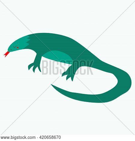 The Vector Lizard Stuck Out Its Tongue. Monitor Lizard