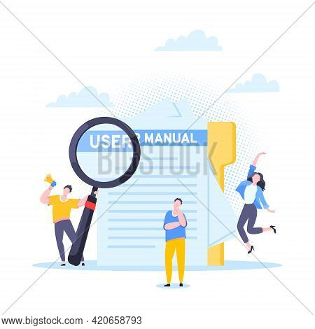 User Manual Guide Book Flat Style Design Vector Illustration. Tiny People, Magnifying Glass And Pape