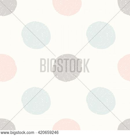 Abstract Spotted Texture Background Pattern. Vector Seamless Repeat Design Of Pastel Textured Hand D
