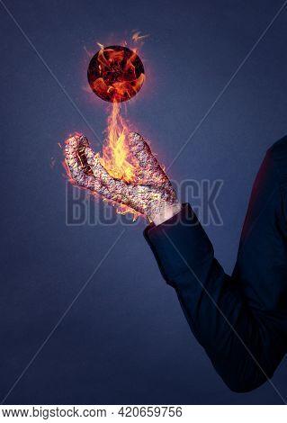 Hand Magically Burning, With Floating Burning Ball