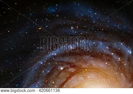 Night Starry Sky And Nebula. Spiral Galaxy. Space Vector Background