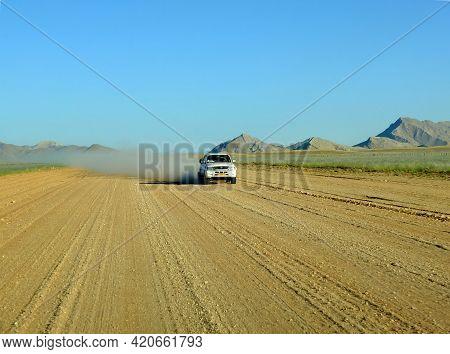 Windhoek, Namibia - 01 May 2012: The Road On The Desert, Windhoek, Namibia