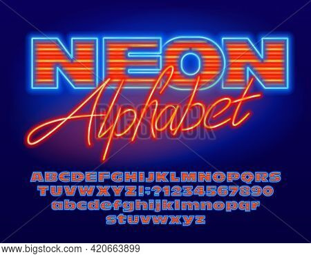 Neon Alphabet Font. Blue And Orange Neon Light Bold Letters, Numbers And Punctuation. Uppercase And