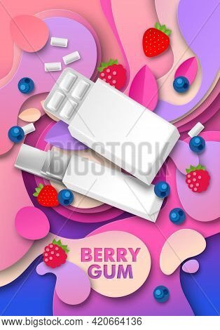 Berry Chewing Gum Ads, Vector Illustration. Pad And Slab Bubble Gum Package Mockup, Paper Cut Strawb