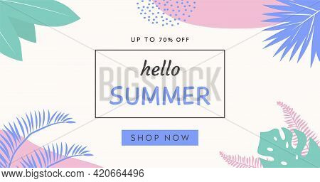 Trendy Abstract Horizontal Banner Template With Tropical Palm Leafs And Geometric Elements. Modern C