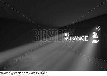 Life Insurance Rays Volume Light Concept 3d Illustration