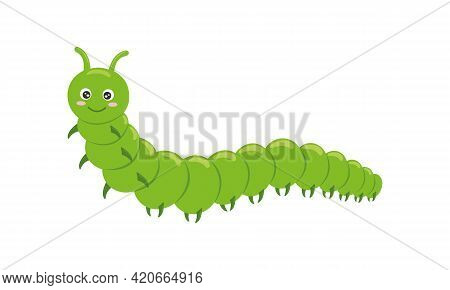 Cute Green Caterpillar Character Isolated On White Background. Funny Insect For Kids. Vector Cartoon