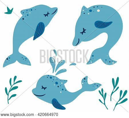 Set Of Cute Dolphins. Different Poses. Marine Mammals. Cartoon Characters Funny Dolphin. Collection