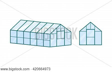 Glass Greenhouse Isolated On White Background. Front View And Isometric Projection. Farm Building. G