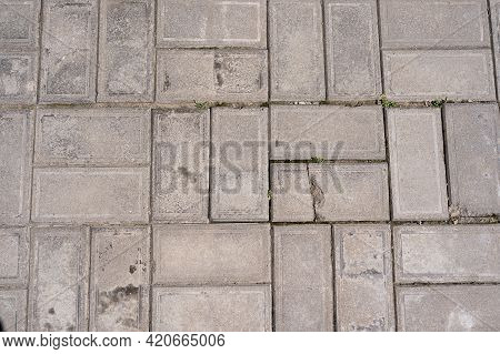 Cobblestones Pattern Viewed From Above As A Full Frame Texture, Background. Pavement Made Of Stone I