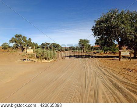 Sossusvlei, Namibia - 02 May 2012: The Road In Namib Desert, Sossusvlei, Namibia