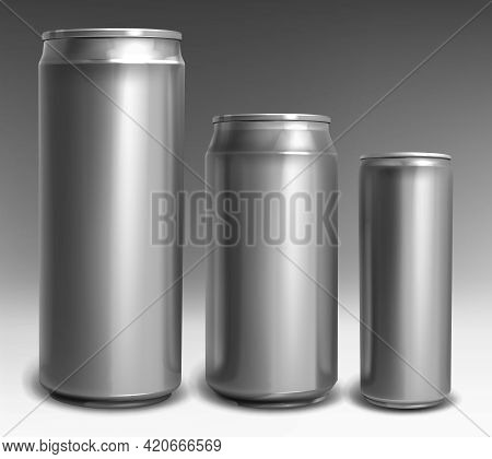 Sliver Aluminium Cans Different Sizes For Soda, Beer, Energy Drink, Cola, Juice Or Lemonade Isolated