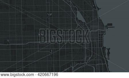 Black Grey Chicago City Area Vector Background Map, Streets And Water Cartography Illustration. Wide