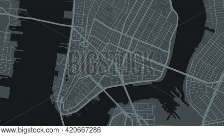Black And White New York City Area Vector Background Map, Streets And Water Cartography Illustration