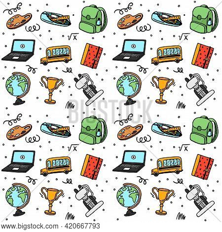 Fun Seamless Pattern With School Supplies And Creative Elements. Lets Go Back To The School Past. Gl