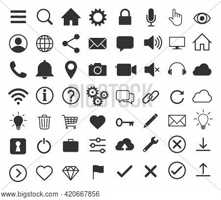 Web Application Interface Icon Collection. Internet Page And Website Vector Symbol Set. Search, Home