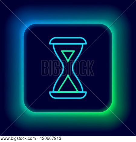 Glowing Neon Line Sauna Hourglass Icon Isolated On Black Background. Sauna Timer. Colorful Outline C
