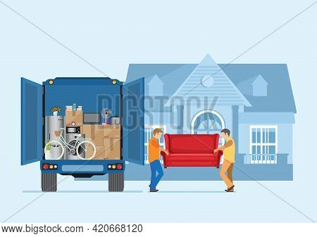 Moving House Service. Workers Carrying Sofa And Various Boxes To New Home. Delivery Truck With A Bun