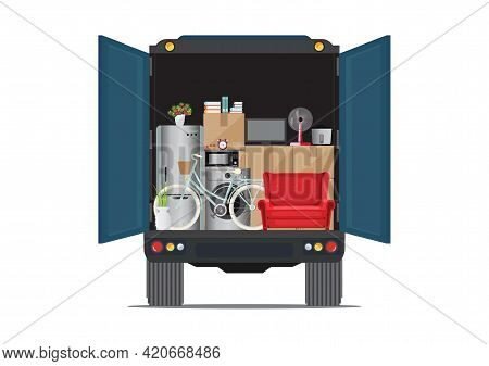Truck With Lots Of Boxes And Furniture Concept Of Moving Service And Freight Company. Big Truck Full
