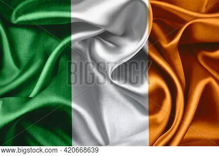 Close-up of silky Irish flag