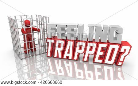 Feeling Trapped Caught by Trick Scam Fraud Person Jail 3d Illustration