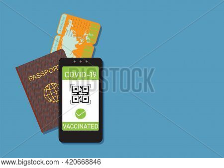 Valid Digital Vaccination In Health Passport Mobile Phone App, Person Allowed To Travel, Covid-19, V