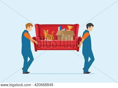 Workers Carrying Sofa With Big Carton Cardboard Box. Delivery And Relocation Service Concept. Vector