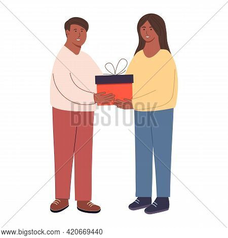 Happy People. Give Each Other Gifts. A Woman Gives A Man A Gift. The Guy Gives The Girl A Present. H